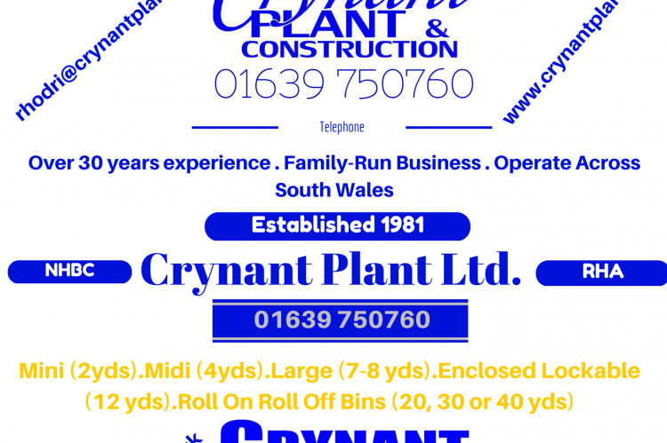 A poster advertising Crynant's services in plant & construction and skips for the programme of the local vintage steam show in Neath.